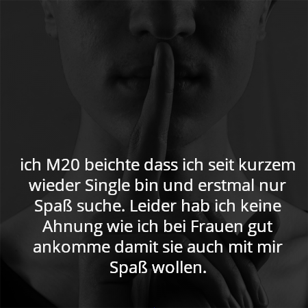 ich M20 beichte dass ich seit kurzem wieder Single bin und erstmal nur Spaß suche. Leider hab ich keine Ahnung wie ich bei Frauen gut ankomme damit sie auch mit mir Spaß wollen.