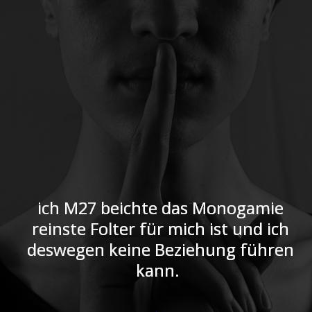 ich M27 beichte das Monogamie reinste Folter für mich ist und ich deswegen keine Beziehung führen kann.