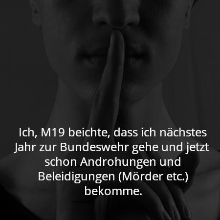 Ich, M19 beichte, dass ich nächstes Jahr zur Bundeswehr gehe und jetzt schon Androhungen und Beleidigungen (Mörder etc.) bekomme.